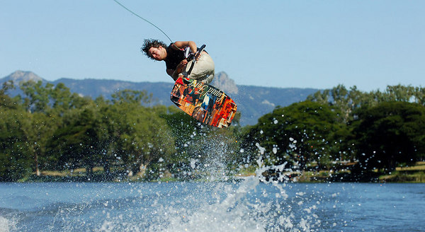 08 JUL 2006 TOWNSVILLE, QLD - Gold Coast's John Henson performs at the Coca Cola Ross River Rampage national wakeboarding competition.  It is part of a nine day program celebrating the opening of the Thuringowa Riverway project - PHOTO: CAMERON LAIRD