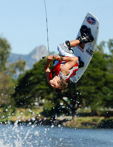 08 JUL 2006 TOWNSVILLE, QLD - Brisbane's Mitch Langford, 15, performs at the Coca Cola Ross River Rampage national wakeboarding competition.  It is part of a nine day program celebrating the opening of the Thuringowa Riverway project - PHOTO: CAMERON LAIRD