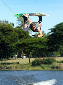 08 JUL 2006 TOWNSVILLE, QLD - Melbourne's Matt Galvin performs at the Coca Cola Ross River Rampage national wakeboarding competition.  It is part of a nine day program celebrating the opening of the Thuringowa Riverway project - PHOTO: CAMERON LAIRD