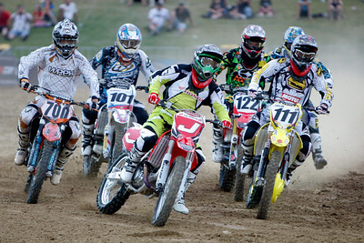 22 November 2008 Townsville, Qld - Jeremy McGrath (J) leads riders into the first turn during Round 6 of Super X at Townsville's Dairy Farmers Stadium - Photo: Cameron Laird (Ph: 0418 238811)