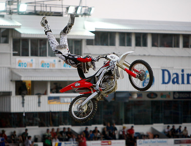 22 November 2008 Townsville, Qld - Chris Thompson during the Australasian FMX Championship round at Townsville's Dairy Farmers Stadium - Photo: Cameron Laird (Ph: 0418 238811)