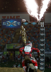 22 November 2008 Townsville, Qld - Tye Simmonds crosses the finish during Round 6 of Super X at Townsville's Dairy Farmers Stadium - Photo: Cameron Laird (Ph: 0418 238811)