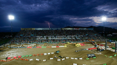 22 November 2008 Townsville, Qld - Lightening strikes over Round 6 of Super X at Townsville's Dairy Farmers Stadium - Photo: Cameron Laird (Ph: 0418 238811)