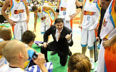 20 Feb 2008 Townsville, Qld, Australia - Brendan Joyce pumps up his players during the Blaze's 97-89 loss to the Crocodiles - Townsville Crocodiles v Gold Coast Blaze (Townsville Entertainment & Convention Centre) - PHOTO: CAMERON LAIRD (Ph: 0418238811)