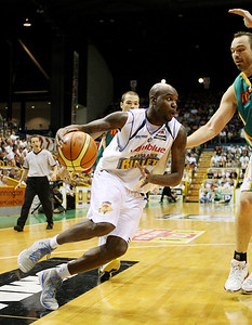 09 Feb 2008 Townsville, Qld, Australia - Brisbane's Ebi Ere drives to the basket - Townsville Crocodiles v Brisbane Bullets (Townsville Entertainment & Convention Centre) - PHOTO: CAMERON LAIRD (Ph: 0418238811)