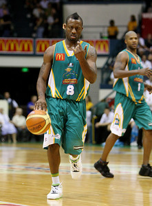 20 Feb 2008 Townsville, Qld, Australia - Corey Williams brings the ball up the floor during the Crocodiles 97-89 win over the Blaze - Townsville Crocodiles v Gold Coast Blaze (Townsville Entertainment & Convention Centre) - PHOTO: CAMERON LAIRD (Ph: 0418238811)