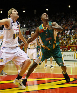 09 Feb 2008 Townsville, Qld, Australia - Dillon Boucher and Galen Young fight for a rebound - Townsville Crocodiles v Brisbane Bullets (Townsville Entertainment & Convention Centre) - PHOTO: CAMERON LAIRD (Ph: 0418238811)