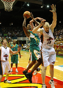 20 Oct 2007 Townsville, Qld, Australia - Crocodiles import Galen Young takes it strong to the basket - Townsville Crocodiles v Adelaide 36'ers - PHOTO: CAMERON LAIRD (Ph: 0418 238811)