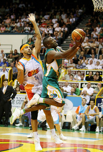 20 Feb 2008 Townsville, Qld, Australia - Corey Williams flies to the basket during the Crocodiles 97-89 win over the Blaze - Townsville Crocodiles v Gold Coast Blaze (Townsville Entertainment & Convention Centre) - PHOTO: CAMERON LAIRD (Ph: 0418238811)