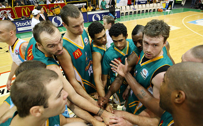 20 Feb 2008 Townsville, Qld, Australia - Crocodiles players celebrate their 97-89 win over the Blaze - Townsville Crocodiles v Gold Coast Blaze (Townsville Entertainment & Convention Centre) - PHOTO: CAMERON LAIRD (Ph: 0418238811)