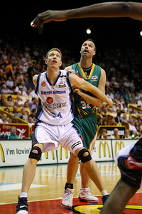 12 Jan 2008 Townsville, Qld, Australia - Tim Behrendorff and Ben Pepper fight for the rebound - Townsville Crocodiles v New Zealand Breakers (Townsville Entertainment & Convention Centre) - PHOTO: CAMERON LAIRD (Ph: 0418238811)