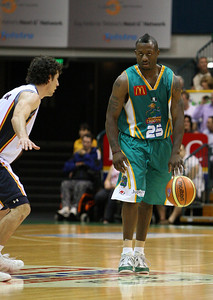 20 Oct 2007 Townsville, Qld, Australia - New Crocodiles import Corey Williams brings the ball up court - Townsville Crocodiles v Adelaide 36'ers - PHOTO: CAMERON LAIRD (Ph: 0418 238811)