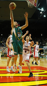 01 Dec 2007 Townsville, Qld - John Rillie scores on a fast break - Townsville Crocodiles v Perth Wildcats (Townsville Entertainment & Convention Centre) - PHOTO: CAMERON LAIRD (Ph: 0418 238811)