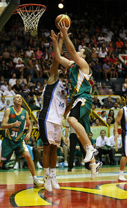 12 Jan 2008 Townsville, Qld, Australia - Townsville's Daniel Egan powers over Mika Vukona - Townsville Crocodiles v New Zealand Breakers (Townsville Entertainment & Convention Centre) - PHOTO: CAMERON LAIRD (Ph: 0418238811)