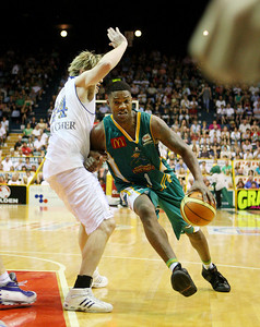 09 Feb 2008 Townsville, Qld, Australia - Crocodiles import Galen Young drives around Dillon Boucher - Townsville Crocodiles v Brisbane Bullets (Townsville Entertainment & Convention Centre) - PHOTO: CAMERON LAIRD (Ph: 0418238811)