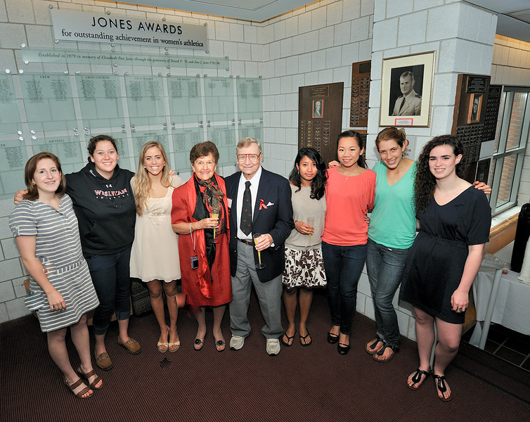 Seven of the eleven named Jones award winners from 2011 with Ann & David Jones.   (L to R) - Claire Hunter '11 (lax), Talia Bernstein '11 (softball), McKinley Tennant '11 (basketball), Linda McDougal (tennis), Jenny Chu (squash), Becca Schofield (crew) and Cara Madden (swim&dive).