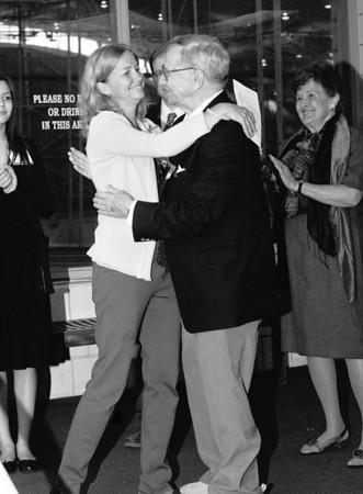 Lisa Jones Chung, Jones Award Winner in Squash, 1986.  and Dave Jones, with Ann Jones to the right.