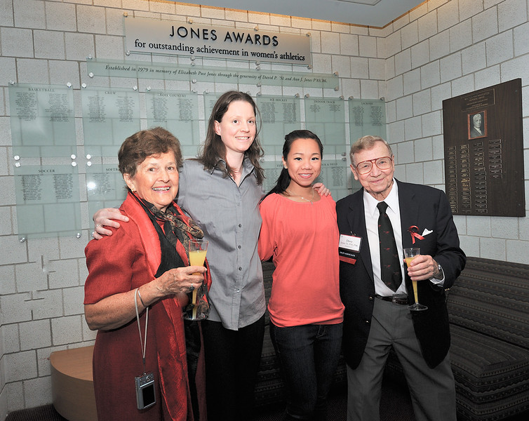 Ann and Dave Jones with Head Squash Coach Shona Kerr and 2011 squash Jones Award winner Jenny Chu '11