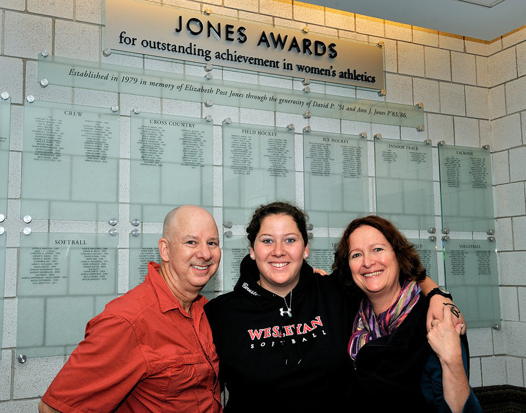 Talia Bernstein '11, Softball Jones Award winner, with her parents, Eva and Ron Bernstein