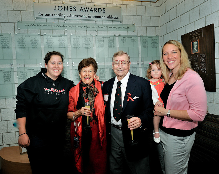 Talia Bernstein '11, Jones Award winner in softball; Ann Jones; Dave Jones; Julia Lane; and Head Softball Coach Jen Lane