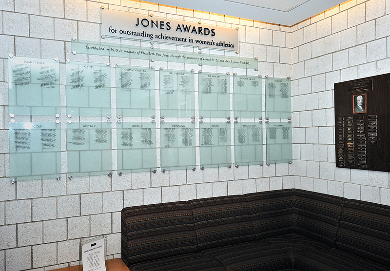 Jones Awards wall at Freeman Athletic Center, Wesleyan University, Middletown, Ct.