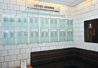 Jones Awards wall at Freeman Athletic Center, Wesleyan University, Middletown, Ct.