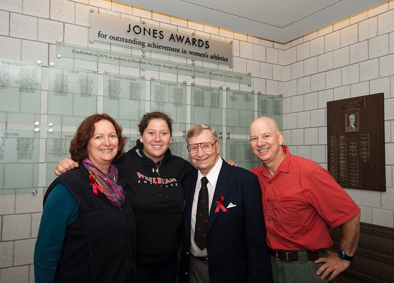 Talia Bernstein '11, Softball Jones Award winner, with Dave Jones and her parents, Eva and Ron Bernstein