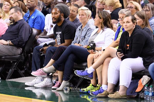 Megan Rapinoe watches WNBA All-Star Game 2017 courtside