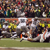 Oregon Ducks defensive end Terrell Turner (45) intercepts the deflected ball at the 114th annual Civil War. UO Defeated OSU 37-20 in the game at Reser Stadium in Corvallis Oregon.