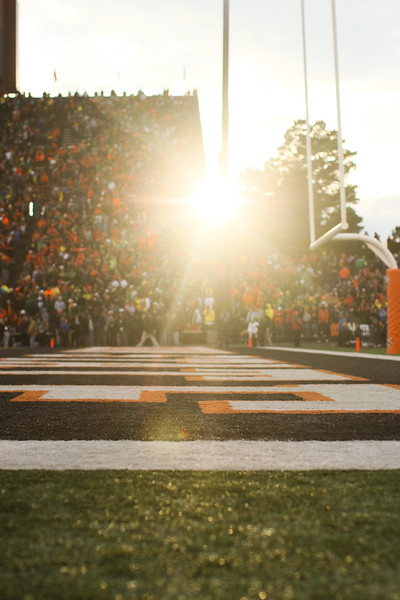 The sun peaked through the stadium at the 114th annual Civil War. UO Defeated OSU 37-20 in the game at Reser Stadium in Corvallis Oregon.