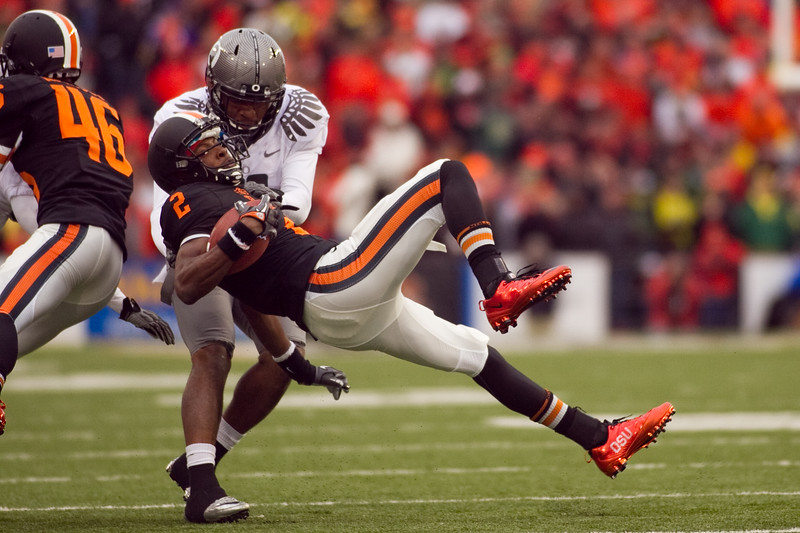Oregon State Beavers wide receiver Markus Wheaton (2) is brought down at the 114th annual Civil War. UO Defeated OSU 37-20 in the game at Reser Stadium in Corvallis Oregon.