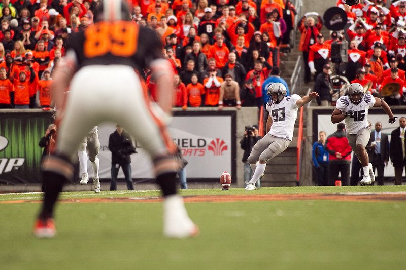 Oregon Ducks kicker Rob Beard (93) kicks off at the 114th annual Civil War. UO Defeated OSU 37-20 in the game at Reser Stadium in Corvallis Oregon.