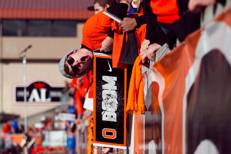 OSU fans cheer prior to the 114th annual Civil War. UO Defeated OSU 37-20 in the game at Reser Stadium in Corvallis Oregon.