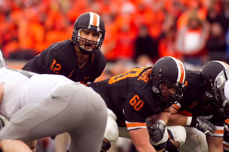 Oregon State Beavers quarterback Ryan Katz (12) looking at the Oregon defense prior to a play at the 114th annual Civil War. UO Defeated OSU 37-20 in the game at Reser Stadium in Corvallis Oregon.