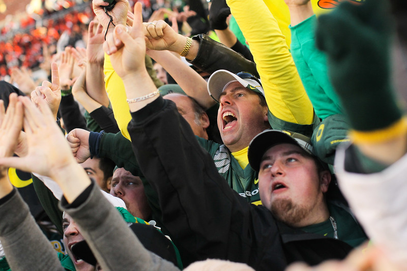 Oregon Fans celebrate their win on the field to the sky cam after the 114th annual Civil War. UO Defeated OSU 37-20 in the game at Reser Stadium in Corvallis Oregon.