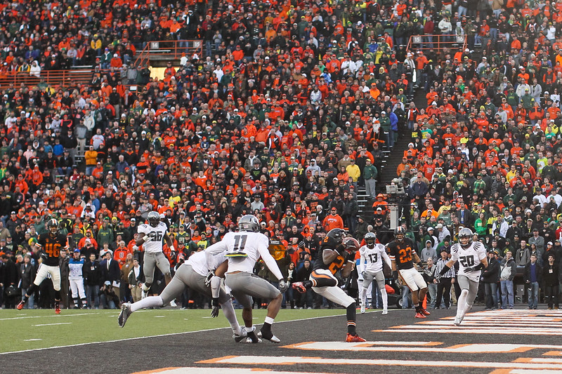 Oregon State Beavers wide receiver Markus Wheaton (2) scores the final touchdown for OSU at the 114th annual Civil War. UO Defeated OSU 37-20 in the game at Reser Stadium in Corvallis Oregon.