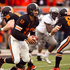 Oregon State Beavers quarterback Ryan Katz (12) looks for the hand-off at the 114th annual Civil War. UO Defeated OSU 37-20 in the game at Reser Stadium in Corvallis Oregon.