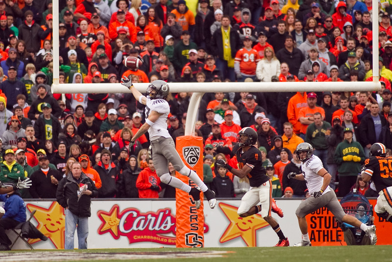 Oregon Ducks wide receiver Jeff Maehl (23) jumps for a pass at the 114th annual Civil War. UO Defeated OSU 37-20 in the game at Reser Stadium in Corvallis Oregon.