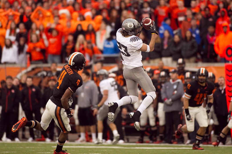 Oregon Ducks wide receiver Jeff Maehl (23) makes a jumping catch at the 114th annual Civil War. UO Defeated OSU 37-20 in the game at Reser Stadium in Corvallis Oregon.