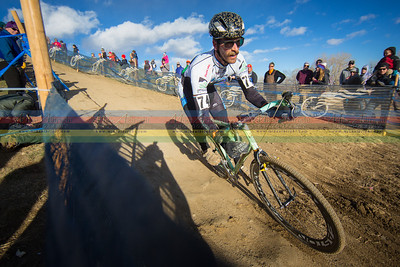 Scott Chapin rocks a fast downhill section at the 2014 Cyclocross Nationals in  Boulder, CO