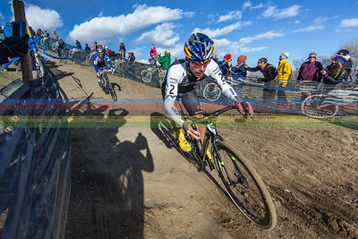 Tim Johnson leads out Jonathan Page on a fast downhill section during the 2014 Cyclocross Nationals in  Boulder, CO