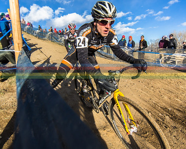 Brian Hludzinski rocks one of the tricky, fast dh sections during the 2014 Cyclocross Nationals in  Boulder, CO