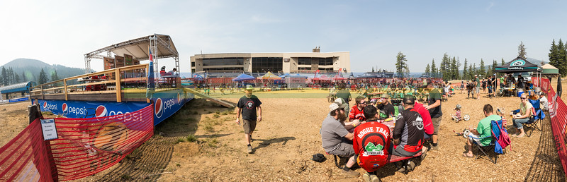 Racers enjoy beer, lunch and a raffle before the podiums