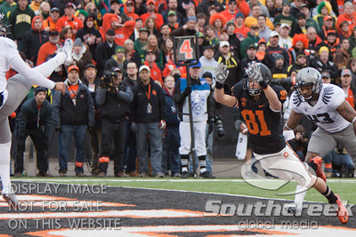Oregon K/P Alejandro Maldonado (41) punts during the 3rd quarter while Oregon State's Micah Hatfield (81) tries to block it during the 2010 Civil War game at Reser Stadium, Corvallis, Oregon.  The Oregon Ducks defeated the Oregon State Beavers 37-20 to advance to the BCS National Championship game in Glendale, Arizona.