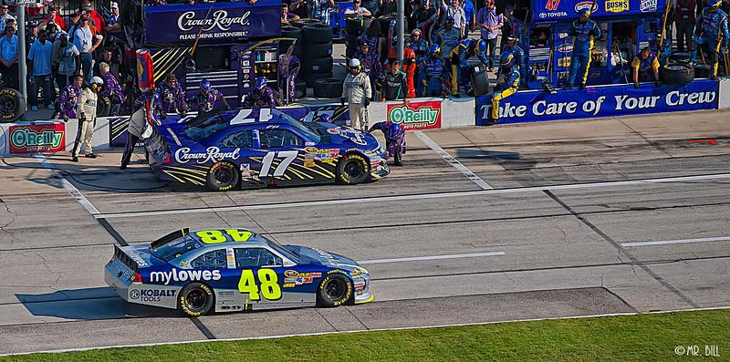 Jimmy Johnson (#48) and Matt Kenseth (#17) in pit lane during NASCAR AAA Texas 500 @ Texas Motor Speedway
