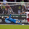 Portland Timbers goalkeeper Adin Brown (24) dives for a shot, but misses in the second half. Portland tied New York 3-3 at Jeld-Wen Field in Portland, Oregon