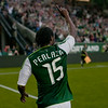 Portland Timbers forward Jorge Perlaza (15) celebrates after a goal in the second half. Portland tied New York 3-3 at Jeld-Wen Field in Portland, Oregon