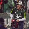 Lumber Joey pumps up the crowd after the first Portland goal for the Portland Timbers.  Portland defeated Chicago 4-2 in the rain at the home opener at Jeld-Wen Field in Portland, Oregon