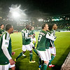 Portland Timbers defender/midfielder Rodney Wallace (22) celebrates with team mates after his unassisted goal in the first quarter. Portland defeated Chicago 4-2 in the rain at the home opener at Jeld-Wen Field in Portland, Oregon