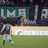 Lumber Jack Joey cuts off the first piece of wood symbolizing a Timbers goal.  Portland defeated Chicago 4-2 in the rain at the home opener at Jeld-Wen Field in Portland, Oregon